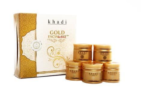 Подарочный набор для ухода за лицом с золотом Khadi