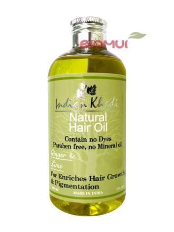Оживляющее масло для роста волос с имбирем и лаймом Indian Khadi