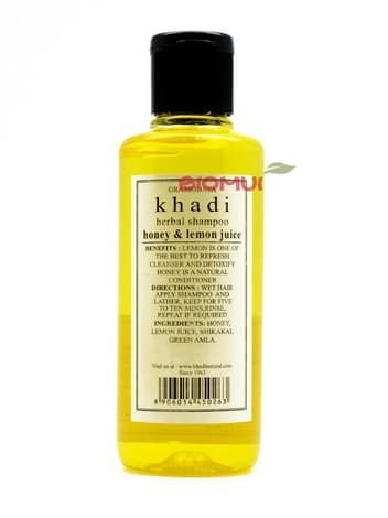 Регулирующий шампунь с медом и лимонным соком Khadi