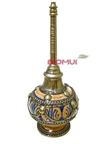Глиняная аромалампа-диффузер с железными вставками (ручная работа г.Фес)