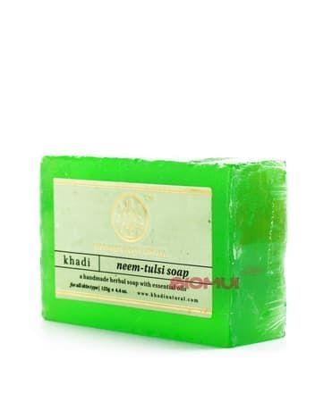 Натуральное балансирующее мыло с нимом и базиликом Khadi
