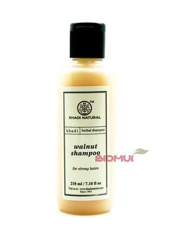 Укрепляющий шампунь с грецким орехом KhadiНатуральный шампунь<br>Благодаря натуральному, аюрведическому составу, шампунь деликатно очищает, восстанавливает поврежденные кератиновые волокна, увлажняет кожу головы и волосяные фолликулы.<br>