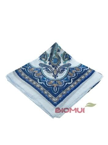 Шелковый платок с индийским принтом (голубой)
