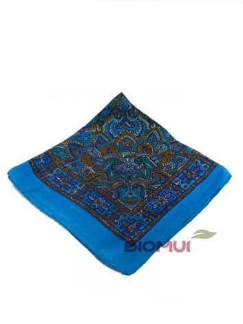 Шелковый платок с фиолетовым принтом (морская волна)Платки<br><br>