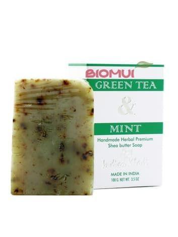 Натуральное мыло с маслом ши, зеленым чаем и мятой «Indian Khadi»