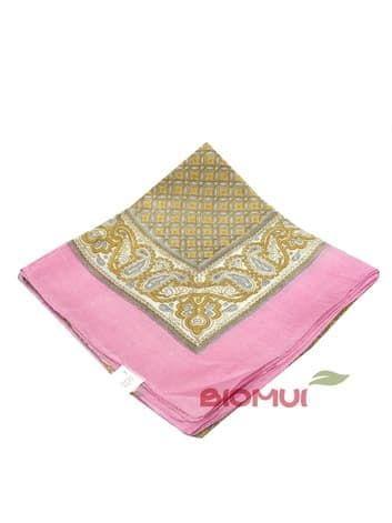 Шелковый платок с индийским принтом (розово-бежевый)Платки<br><br>