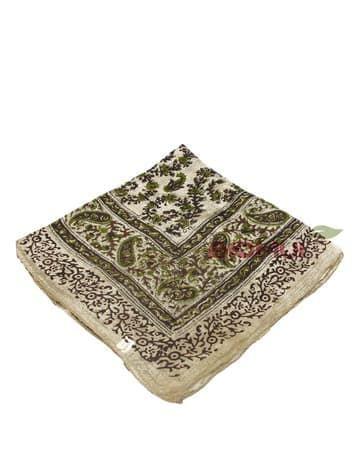 Шелковый платок (бежевый с коричнево-зеленым принтом)