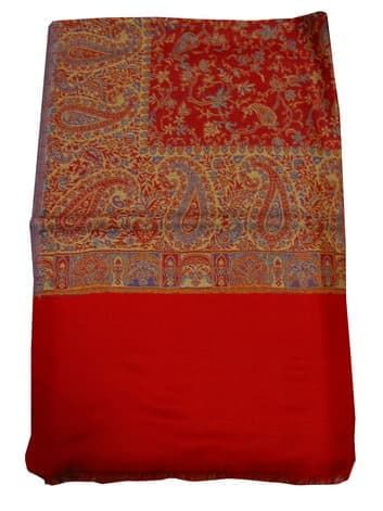 Шерстяной палантин с индийским принтом (красный)