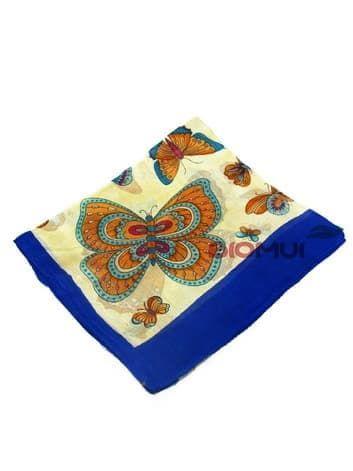 Шелковый шарф Бабочки (синий)Платки<br><br>