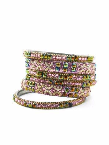 Индийский браслет со стразами (розовый)