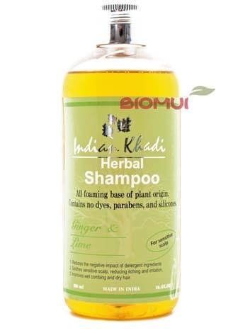 Мягкий шампунь для чувствительной кожи головы с имбирем и лаймом «Indian Khadi»Натуральный шампунь<br>Входящие в состав питательные масла, экстракты лечебных трав и гидролизованный белок помогают увлажнить и напитать эпителий и луковички волос.<br>