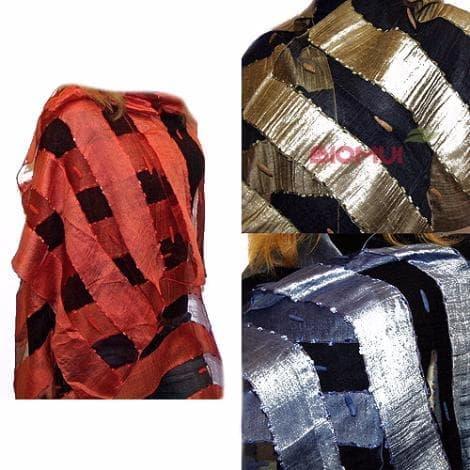 Хлопковый шарф-палантин с прозрачными полоскамиПлатки<br>Размер шарфа 196см. на 67 см.<br>Воздушный палантин из Индии, сотканный из натурального хлопка с добавлением шелковой нити, обрамлен бахромой.<br>