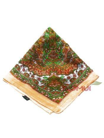 Шелковый платок с индийским узором (оранжево-персиковый)