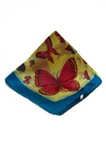 Шелковый платок Бабочки (цвет морской волны)Платки<br><br>