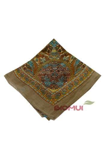 Шелковый платок с индийским принтом (коричневый)Платки<br><br>