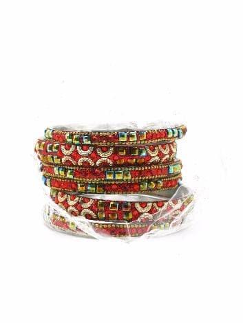 Индийский браслет со стразами (Красный)