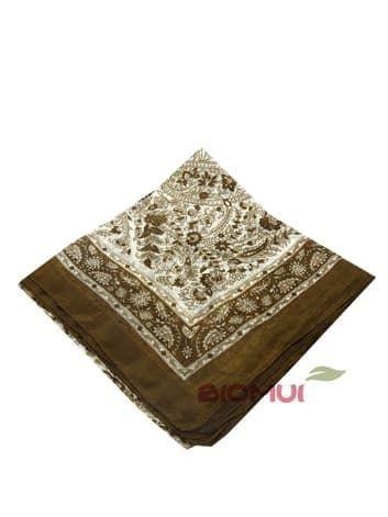 Шелковый платок с индийским узором (коричневый)Платки<br><br>