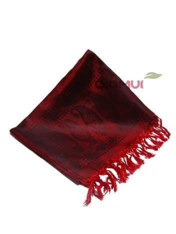 Шелковый платок Хамелеон (насыщенно-красный с черным отливом)Платки<br><br>
