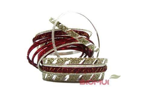 Индийский браслет-кольца (красный)