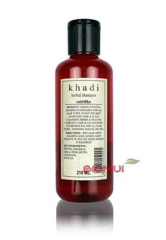 Натуральный шампунь на основе мыльных орехов KhadiНатуральный шампунь<br>Универсальный мягкий натуральный шампунь подходящий для частого применения и ухода за всеми типами волос.<br>