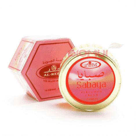 Духи-крем Al-Rehab SabayaСухие духи<br>При первом впечатлении этот парфюм кажется терпким и приторным, с преобладанием доминирующей цитрусовой базы. После раскрытия насыщенный ароматный букет сменяется легким и свежим ароматом, окутывающим Вас невидимым, поистине сказочным шлейфом.<br>
