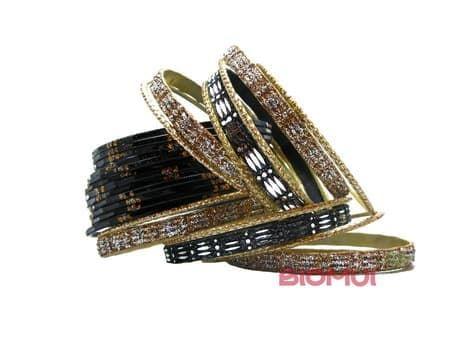 Индийский браслет-кольца (черный)