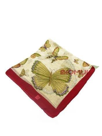 Шелковый платок Бабочки (темно-красный)Платки<br><br>