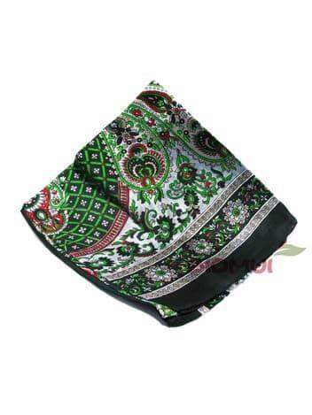 Шелковый платок с принтом (черный)