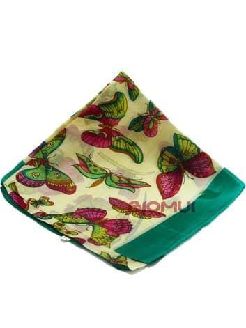 Шелковый платок Бабочки (зеленый)Платки<br><br>