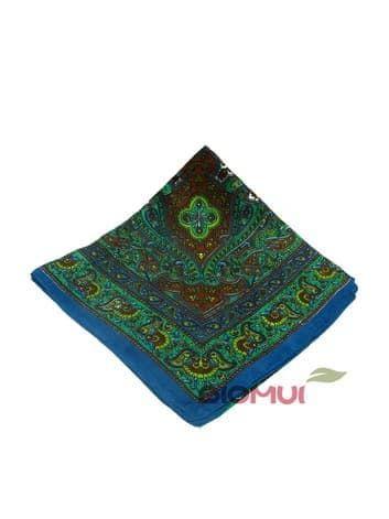 Шелковый платок с индийским принтом  (сине-зеленый)Платки<br><br>