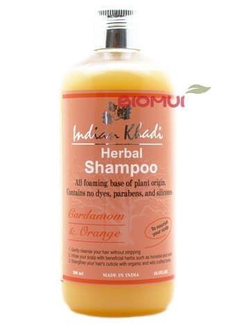 Питательный шампунь с кардамоном и апельсином Indian KhadiНатуральный шампунь<br>Шампунь обеспечит ваши волосы всем необходимым, сделав их невероятно блестящими и мягким, а корни сильными и здоровыми.<br>