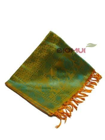 Шелковый платок Хамелеон (оранжевый с зеленым отливом)Платки<br><br>