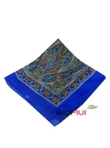 Шелковый платок с индийским принтом (морская волна)Платки<br><br>