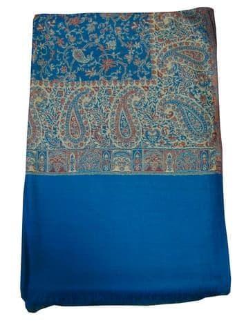 Шерстяной палантин с индийским принтом (голубой)Платки<br><br>