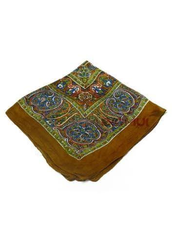 Шелковый платок с индийским узором (темно-коричневый)Платки<br><br>