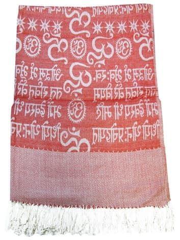 Шелковый платок с мантрами односторонний (красный)Платки<br><br>
