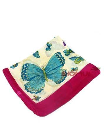 Шелковый шарф Бабочки (малиновый с синим)Платки<br><br>