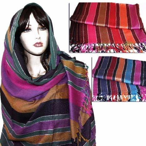 Вискозно-хлопковый шарф-палантин с орнаментом