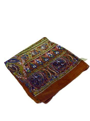 Шелковый платок с индийским узором (горький шоколад)