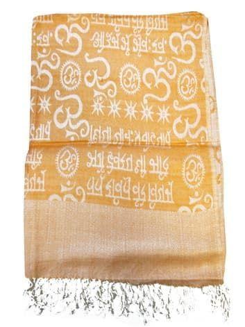 Шелковый платок с мантрами односторонний (бледно-оранжевый)Платки<br><br>
