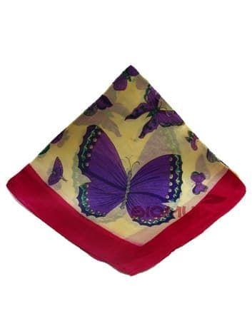 Шелковый платок Бабочки (малиновый)Платки<br><br>