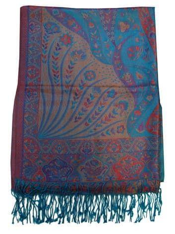 Шелковый платок с отливом плотный двухсторонний (голубой с красным)Платки<br><br>