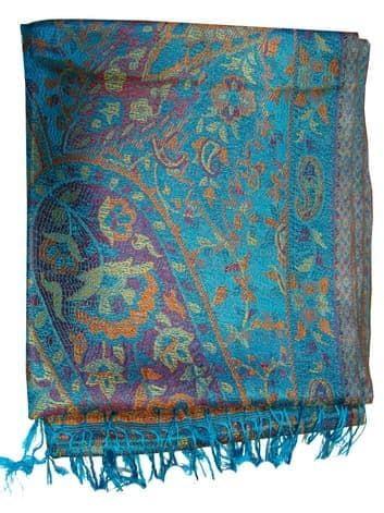 Шелковый платок с отливом плотный двухсторонний (голубой) от BioMui