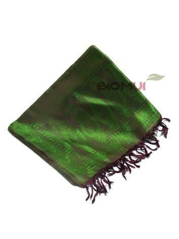 Шелковый платок Хамелеон (бордо с ярко-зеленым отливом)Платки<br><br>