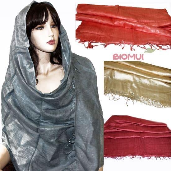 Вискозно-хлопковый тонкий легкий шарф-палантин