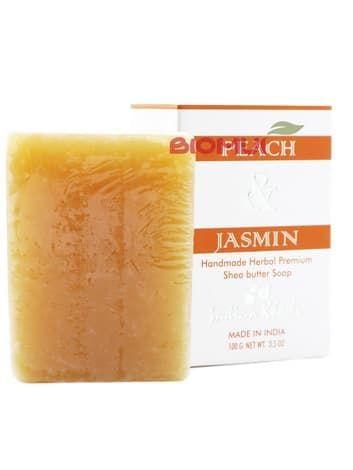 Натуральное мыло с маслом ши, жасмином и персиком «Indian Khadi»