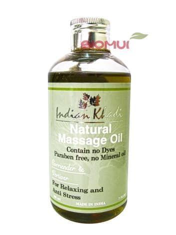 Травяное массажное масло с кориандром и ветивером Indian KhadiМассажное масло<br>Смесь для детоксикации тела и ума. Эффективно расслабляет, очищает, снимает головные и мышечные боли.<br>