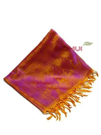 Шелковый платок Хамелеон (темно-оранжевый с малиновым отливом)Платки<br><br>