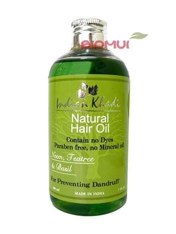 Лечебное регулирующее масло с ниимом, чайным деревом и базиликом Indian KhadiМасло для волос<br>Данное средство регулирует работу сальных желез, оздоравливает кожу головы, продлевает свежесть волос и лечит перхоть.<br>