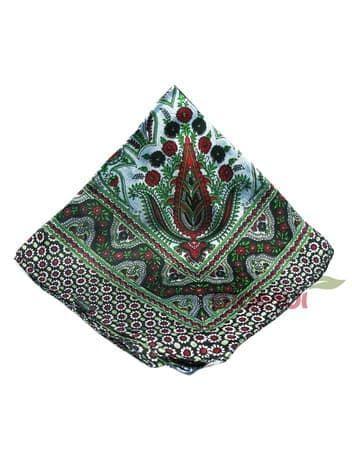 Шелковый платок с индийским принтом (серо-зеленый)